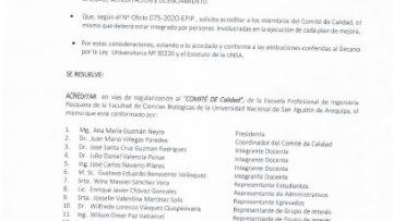 RESOLUCION DE NOMBRAMIENTO DE COMITE DE ACREDITACION
